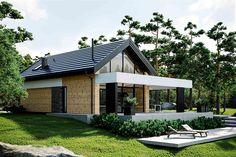 Projekt domu letniskowego HomeKoncept-66 A DL 107,1 m2 - koszt budowy 191 tys. zł - EXTRADOM Small House Design, Modern House Design, Plan Chalet, Modern Outdoor Kitchen, Utila, Modern Bungalow House, Small Modern Home, Weekend House, Balcony Design