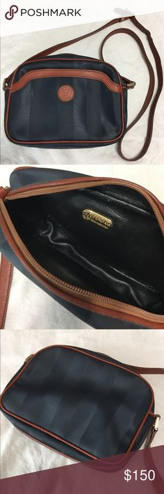 "Fendi Shoulder Bag Vintage Fendi SAS Roma Italy 1925 Coated Canvas finely lined with black smooth Leather, Navy and brown shoulder bag with outer open pocket, zip closure,  18""-24"" handle drop (6"" adjustable length buckle strap), in good contrition-only a tiny tear in the inner Top hem above label-see photo. A00094 Fendi Bags Shoulder Bags"