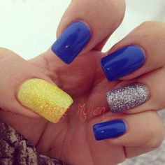 blue with silver && yellow glitter nail .. my new gel nails