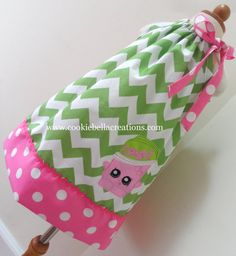 Shopkins Soda Pop Inspired Green Chevron and pink polka dot pillowcase dress. Perfect birthday party dress for baby toddler and little girls.