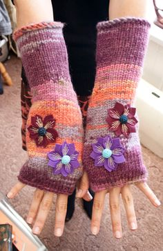 Arm warmers - knitted Irish wool - Felted flower design.