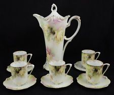 Antique Floral RS Prussia 6pc Chocolate Pot Set Decorative Yellow Rose