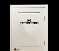 No Trespassing Vinyl Wall or Door Decal #notrespassing #doordecal #vinyldecals #teens