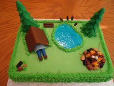Camping theme cake