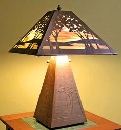 Six sided lamp in celery glaze by jim webb ceramic table lamp jim james mattson coppercraft bas relief table lamp iconic how do you see this lamp aloadofball Images