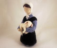 12 Inch - Needle Felted Amish Girl with Lamb Doll