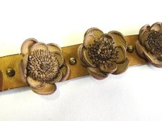 Leather flower bracelet with handmade leather by agatechristina, $21.00