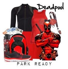 """""""Deadpool: Park Ready"""" by laniocracy ❤ liked on Polyvore featuring Sweaty Betty, Cutter & Buck, adidas, Poste, Reebok and disneyland"""