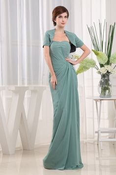 Ruched Beaded Chiffon Long Split Column Mother Of The Bride Dress
