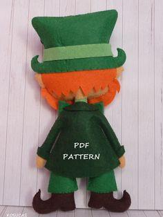 PDF sewing pattern to make a felt leprechaun. by Kosucas on Etsy