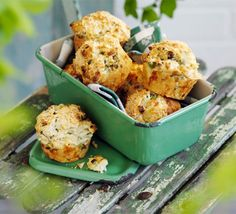 Savoury fluffy cakes packed with cheddar, Parmesan, chives, spring onion and cream cheese - delicious fresh from the oven