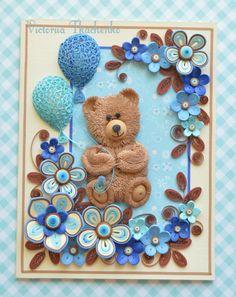 Cutest медведь - Квиллинг Card - гофрированный Card - Юбилейная рюш Card - Любовь рюш карты - Qilling карты для детей