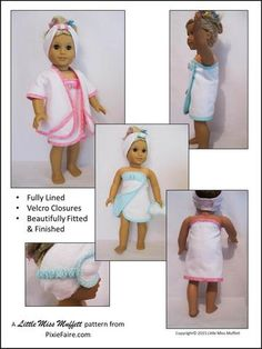 Little Miss Muffett Luxurious Day at the Spa Doll Clothes Pattern 18 inch American Girl Dolls | Pixie Faire