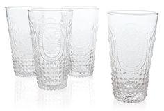 S/4 Embossed Highball Glasses, Clear on OneKingsLane.com