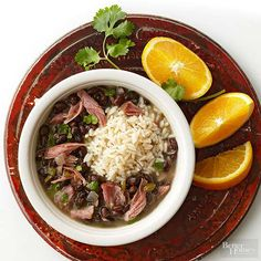 Pull out your Crockpot to make this Brazilian stew with plenty of fiber. Black beans, peppers, onions and ham mix with a tasty sauce and cooked rice for a hearty meal with just a bit of meat.