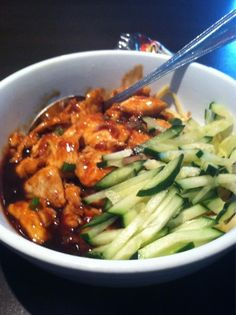 Behold our Thai Fu Noodles with chicken! Cool cucumbers on one side and spicy, savory chicken on the other -  a culinary Yin & Yang. Thanks to Wade in Sunset Valley (Austin, Texas) for the wonderful photo!