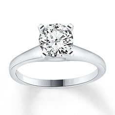 Diamond Solitaire Ring 1 carat Round-cut 14K White Gold