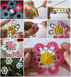 Pop Top Crochet Flowers - use soda can pull tabs to create these gorgeous crochet flowers or crochet snowflakes - Free Pattern