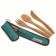 """Re-usable """"to go"""" bamboo utensils: chopsticks/fork/spoon/knife! Utensil Set, Flatware Set, Bamboo Village, Spoon Knife, Sterling Silver Flatware, Sustainable Living, Sustainable Products, Outdoor Entertaining, Chopsticks"""