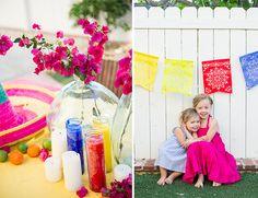 bougainvillea florals for cinco de mayo party + papel picado flags for the backyard