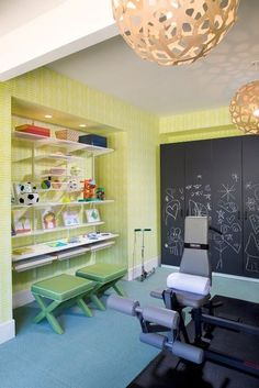 This Exercise Room offers activities for the little ones while you work out...