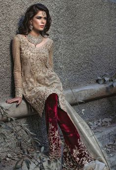 Light Golden Shirt - Deep Red Velvet Trouser and Organza Dupatta Pakistani Formal Dresses, Pakistani Party Wear, Pakistani Wedding Outfits, Pakistani Couture, Pakistani Bridal, Indian Dresses, Indian Outfits, Bridal Lehenga, Look Short