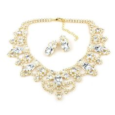 """Glamorous inwrought rhinestone necklace set, length 14.00"""" and extension 3.00"""", clips-on earrings 1.20"""", gold color of surface finish, used Preciosa clear crystal rhinestones"""