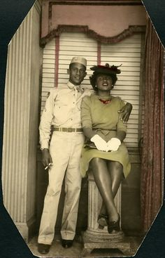 1940s couple, note she is properly dressed with gloves