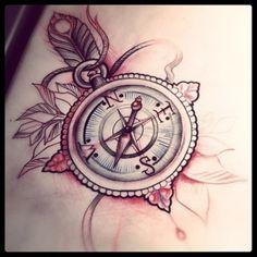 24 Vintage Compass Tattoo