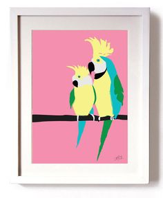 Poster Print Art Pink King Parrot Print A4 or A3 by StudioDoodle, $16.99