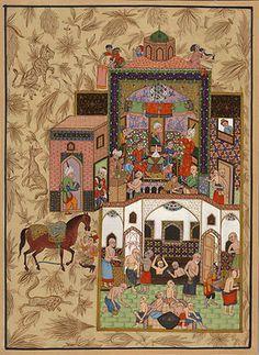 Persian Miniature Painting Rare Qadimi Haft Awrang of Jami Handpainted Folk Art