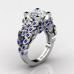 Art Masters Nature Inspired 14K White Gold 3.0 Ct Cubic Zirconia Blue Sapphire Engagement Ring R299-14KWGBSCZ - Perspective