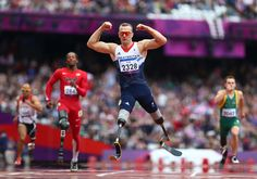 Richard Whitehead of Great Britain celebrates winning gold in the Men's 200-meter T42 Final on day 3 of the London 2012 Paralympic Games at the Olympic Stadium on Sept. 1. (Michael Steele/Getty Images)