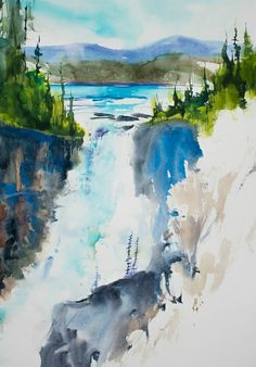 100 Colors AND a limited palette? Here's how watercolor artist and instructor Angela Fehr indulges her DANIEL SMITH color addiction while avoiding … Landscape Art, Landscape Paintings, Landscapes, Waterfall Paintings, Watercolor Tips, Watercolor Paintings, Watercolor Christmas Cards, Painting Process, New Artists