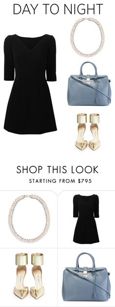 """Day to night: All you need is a stunning necklace"" by dearmissj on Polyvore featuring Dolce&Gabbana, Jimmy Choo and Giorgio Armani #pearl #necklace #glam"