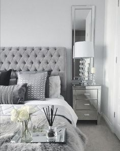 Grey Bedroom Inspo Grey Interior Bedroom Silver Mirror Side Tables regarding proportions 1408 X 1767 Bedrooms With Mirrored Furniture - One from the most White And Silver Bedroom, Silver Bedroom Decor, Bedroom Wall Colors, Home Decor Bedroom, Grey Home Decor, White Grey Bedrooms, Sparkly Bedroom, Modern Grey Bedroom, Silver Bedding