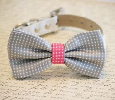 Gray and Hot pink Dog Bow Tie,Gray Polka dots, Pet Accessory, Birthday Gift, Dog Lovers, Pet wedding accessory