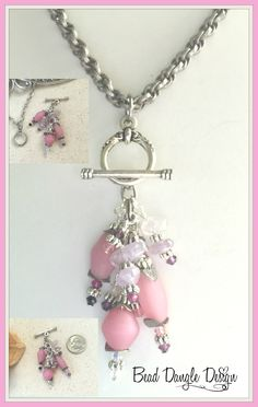 Pink Sea Glass Beaded Pendant Necklace #240