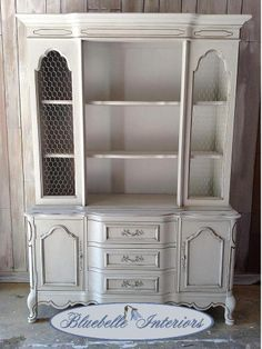 French Provincial China Cabinet Finished In Maison Blanche Silver Mink And  Le Dirt