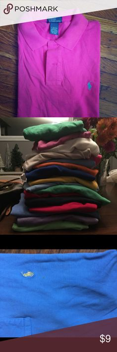 Ralph Lauren boys polos I have 18 all Ralph Lauren kids polos. Size boys L 14/16. There are two polos that have light spots on them(seen in pic). Smoke free home. Polo by Ralph Lauren Shirts & Tops Polos