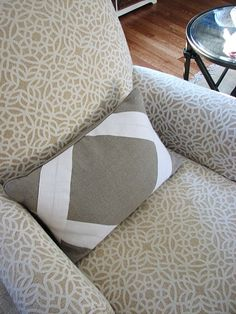 color blocked linen pillows