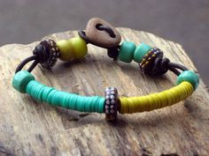 African Trade Bead Bracelet, Tribal, Bohemian, Leather, Turquoise Green, Mustard Yellow Vinyl Heishi, Glass Padre Beads, Unisex
