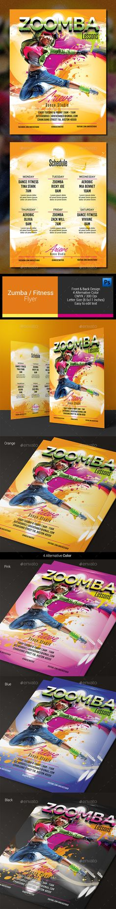 Zumba / Fitness Flyer by arifpoernomo Zumba / Fitness Flyer Template, can be used for promote your Zumba Lessons, Fitness, etc. File features : Letter Size (8.511 I
