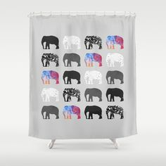 Five elephants Shower Curtain by Elisabeth Fredriksson - $68.00 @Sarah Enders it's so perfect