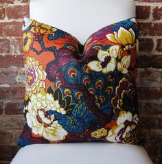 65.00 SALE - Shanghai Peacock in cinnabar - Pillow Cover - 20 in square - Designer Pillow - Decorative Pillow - Throw Pillow