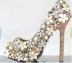 Charming Rhinestone Flower High Heel Wedding Shoes From The Plus Size Fashion Community At www.VintageAndCurvy.com