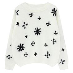 Christmas Snowflake Pattern Mohair Pullover ($70) ❤ liked on Polyvore featuring tops, sweaters, shirts, pullover, long sleeve christmas shirts, longsleeve shirt, mohair pullover, christmas tops and long sleeve tops