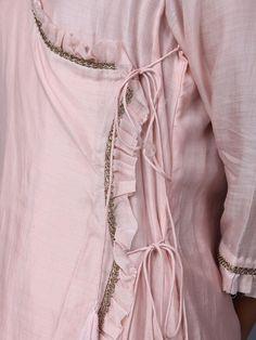 Baby Pink Cotton Silk Angrakha Kurta with Pants - Set of 2