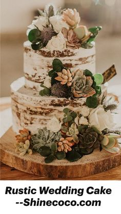 Wedding Cake Rustic, Rustic Cake, Autumn Wedding Cakes, Nature Wedding Cakes, Best Wedding Cakes, Vintage Wedding Cakes, Wedding Cake Simple, Wedding Cake Flowers, Pretty Wedding Cakes