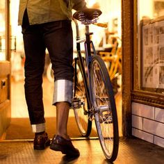 Selvage riding denim by Upright Cyclist.